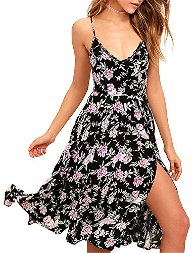 Upopby Womens Chiffon Printed Summer Bikini Cover Up Dress Spaghetti Strap Cold Shoulder Beach Tunic Mini Dresses